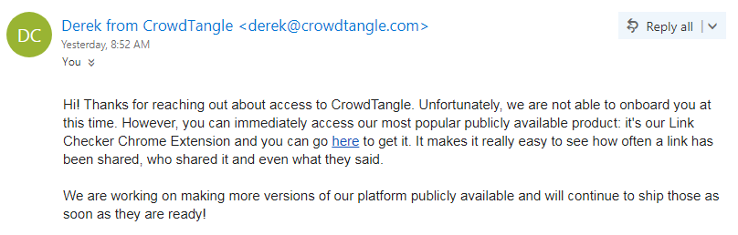 CrowdTangle Email